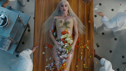 Katy Perry in her new music video, Bon Appétit
