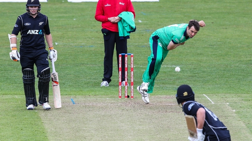 Tim Murtagh puts down another delivery against New Zealand