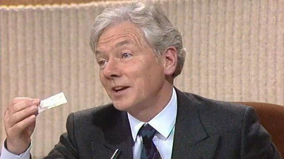 Gay Byrne holds a condom in a wrapper on the 'Late Late Extra' programme (1987).