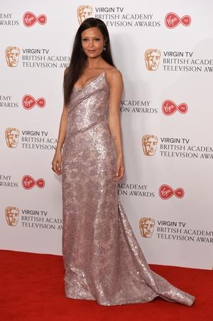 The beautiful Thandi Newston wore a soft pink Vivienne Westwood gown and Jimmy Choo shoes.