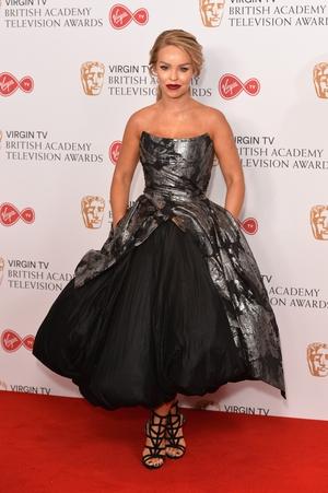 TV presenter Katie Piper wore a silver and black Kolchagov Barba couture gown.