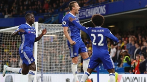 John Terry celebrates what is likely to be his last ever goal for Chelsea