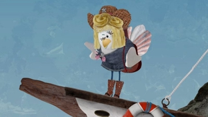 Dolly as singing chicken Noleen on Lily's Shipwreck Bay