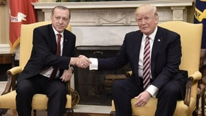 Recep Tayyip Erdogan is welcomed to the White House by Donald Trump