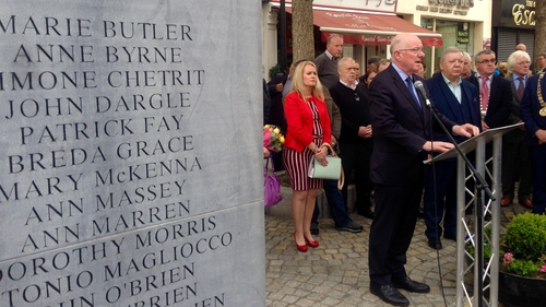 The ceremony was held at the memorial to the victims in Talbot Street, Dublin