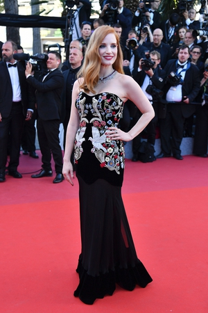 Day One - Wednesday May 17: Member of jury, Jessica Chastain stunned as always in this Alexander McQueen embroidered gown last night.