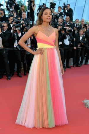 Day One - Wednesday May 17: Summer vibes on the red carpet with the lovely Naomi Harris' Gucci neon tulle dress.