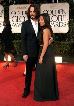 Chris Cornell and Vicky Karayiannis look every bit the Hollywood super couple at the 69th Annual Golden Globe Awards in 2012.