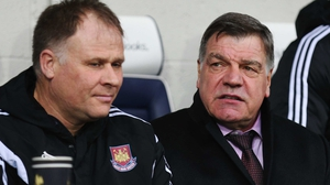 Neil McDonald (L) in the West Ham dugout with Sam Allardyce
