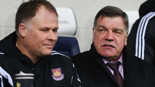 Neil McDonald (L) in the West Ham dugout with Sam Allardyce