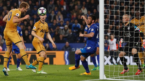 Harry Kane heads home Spurs third goal on their way to an emphatic win over the Foxes