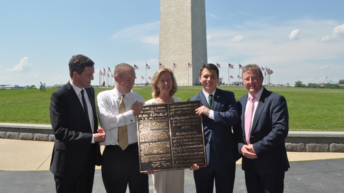 The plaque was officially presented by the Minister of State Seán Canney (far right) on behalf of President Michael D Higgins