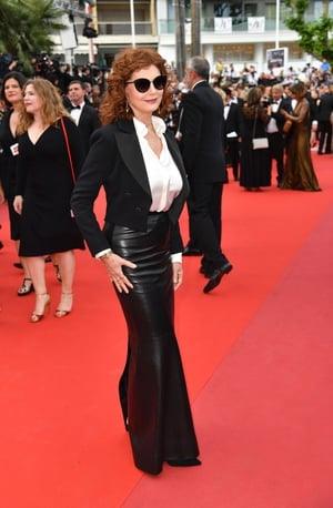 Day Two - Thursday May 18: The icon Susan Sarandon strikes again! She's gorgeous in this maxi leather skirt, shirt and blazer jacket combo.