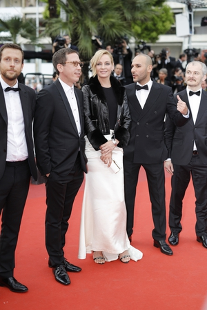 Day Two - Thursday May 18: President of 'Un Certain regard' Jury, Uma Thurman was stylish in a long skirt and leather and fur perfecto!