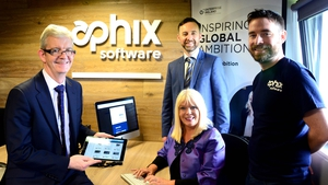 Minister Mary Mitchell O'Connor with Joe Healy, from Enterprise Ireland, Graham O'Rourke, Aphix CEO and Mark Reilly CTO at Aphix