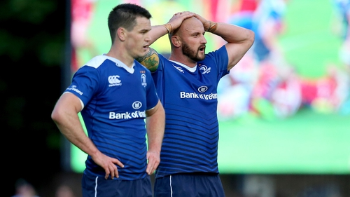 Johnny Sexton and Hayden Triggs show their frustration during the game