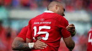 Simon Zebo congratulates Frances Saili after his try