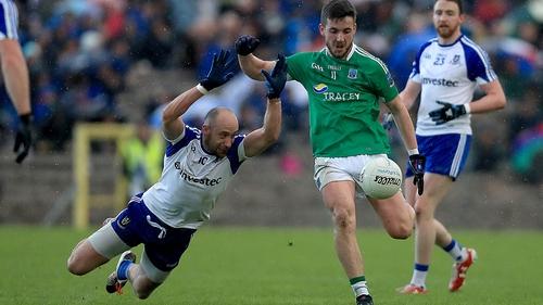 Monaghan's Gavin Doogan attempts to block Ryan Lyons of Fermanagh