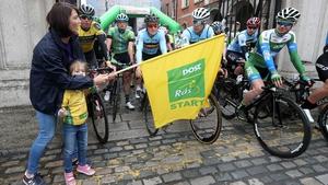 Brona O'Sullivan, An Post Rás Team Director, and Sadhbh start the race