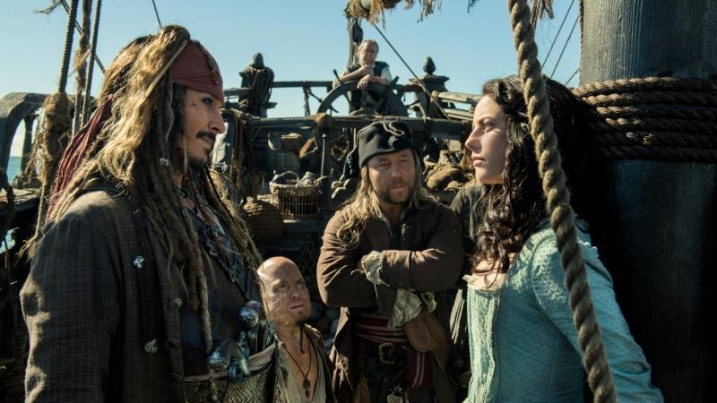 Johnny Depp as Captain Jack Sparrow gets to know Carina Smyth (Kaya Scodelario) in