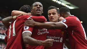 Liverpool players celebrate with Georginio Wijnaldum after he broke the deadlock.