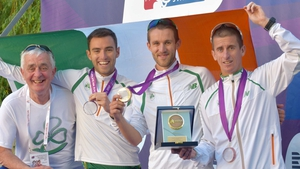 (L-R) Team manager Patsy McGonagle, Cian McManamon, Alex Wright and Robert Heffernan