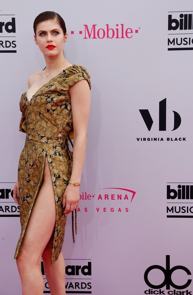 Styled by Jenny Ricker, Baywatch actress Alexandra Daddario wore a daring Vivienne Westwood dress and a gold Movado watch.