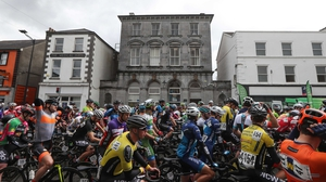 The riders make their way out of Longford