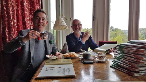 Children's Laureate PJ Lynch with Patrick and the Presidentco-author Ryan Tubridy at Lismore Castle.