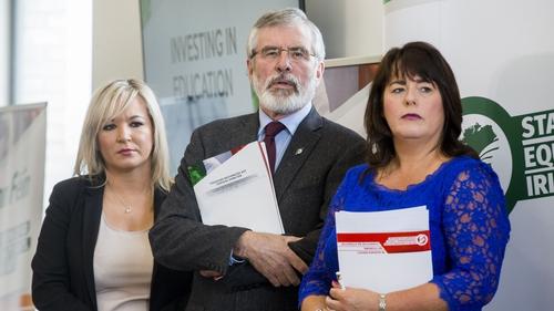 Michelle O'Neill, Gerry Adams and Michelle Gildernew launching the Sinn Féin manifesto