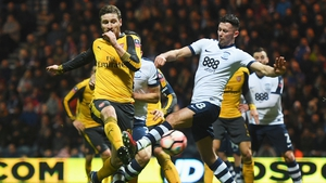 Alan Browne in action for Preston North End against Arsenal in this year's FA Cup clash at Deepdale