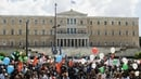Employees from the municipal kindergardens protest outside the Greek parliament during a 48-hour strike