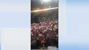 Crowds seen inside the arena as the incident unfolded