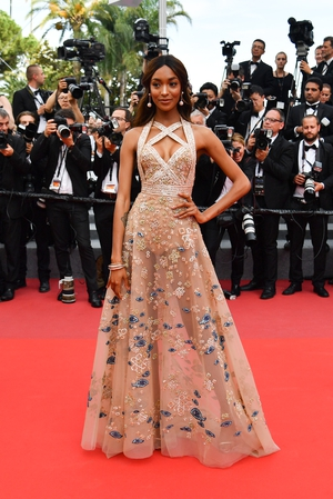 Day Six - Monday May 22: Model Jourdan Dunn shines in this delicate embroidered Elie Saab gown.