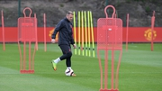 Wayne Rooney during this morning's training session in Manchester