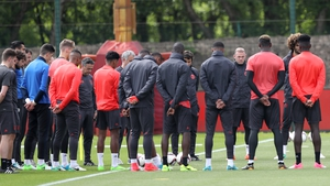 Manchester United squad held a moment's silence prior to training today