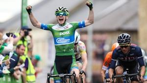 Matthew Teggart raises is hands in jubilation