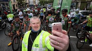 Pat Dowd takes a selfie at the start of today's stage in Newport,