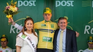 Mary Lenehan, Miss An Post Ras, Bundoran with Yellow jersey holder Denis Bakker and Pat Quinn, Mail Delivery Services Manager, An Post