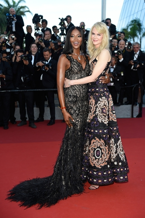 Day Seven - Tuesday May 23: Beautiful besties! Nicole Kidman wears an Armani Prive embroidered dress while Naomi Campbell wears an Atelier Versace feathered gown.