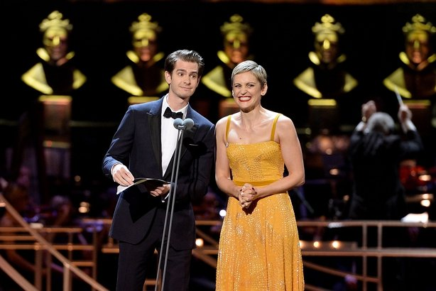 Andrew Garfield and Denise Gough present at the 2017 Olivier Awards