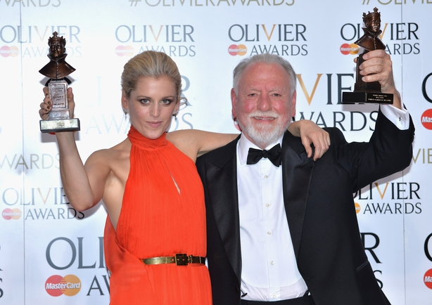 Denise Gough (L) winner of the Best Actress Award for People, Places and Things and Kenneth Cranham winner of the Best Actor award for 'The Father' pose in the winners room at The Olivier Awards 2016