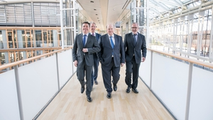 Ministers Paschal Donohoe and Michael Noonan at the European Investment Bank in Luxembourg today