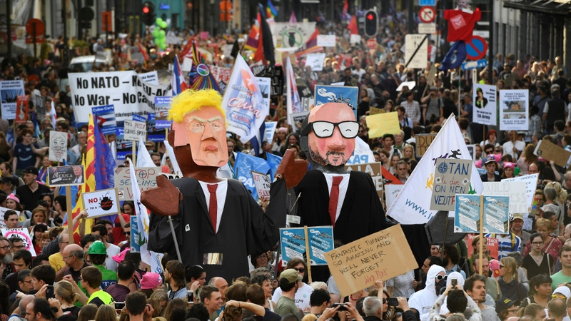 Image result for PROTEST AGAINST TRUMP & NATO AT Brussels