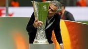 Manchester United manager Jose Mourinho kisses the Europa League trophy