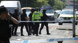 Police activity at a cordon in the Hulme area of Manchester where an army bomb disposal team was deployed