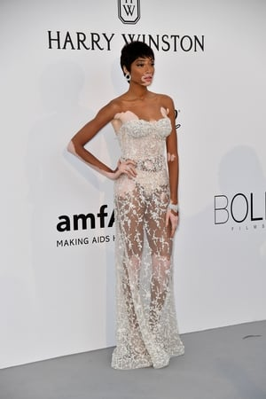 Day Nine - Thursday May 25: Model Winnie Harlow dazzles in this sheer embellished dress with cropped hair at the amFAR Gala.