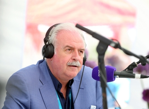 Marty Whelan broadcasting live on lyric fm on the RTÉ stage