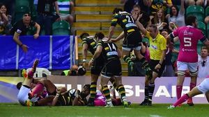 Ahsee Tuala of Northampton Saints scores a try