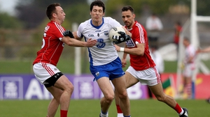 Waterford's Tommy Pendergast under pressure from Paul Kerrigan of Cork